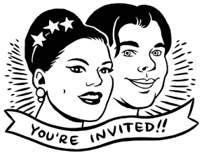 Ellen Forney's wedding invitations